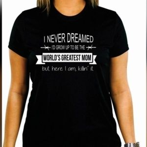 Tops - Black Cotton Tee Shirt  Worlds Greatest Mom